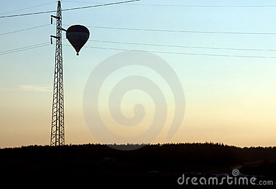 Balloon and power lines