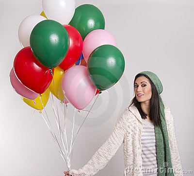 Woman Carrying Colorful Helium Balloon Bouquet