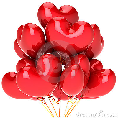 Balloons as red hearts