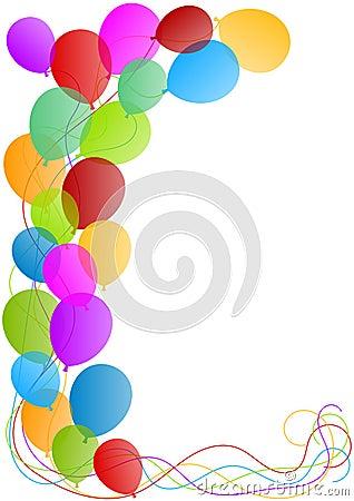 Balloons border card Stock Photo