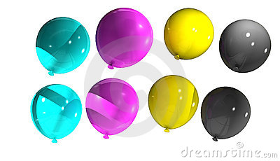 Balloons with cmyk colors
