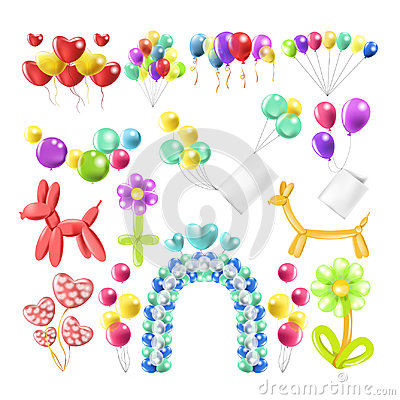 Free Balloons Color Glossy Inflated In Different Balloon Shape Vector Icons Set Royalty Free Stock Photo - 96256825