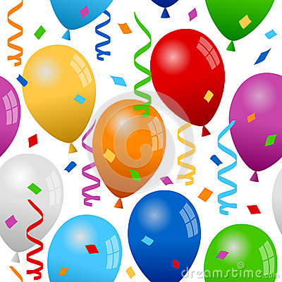 Balloons and Confetti Seamless Pattern