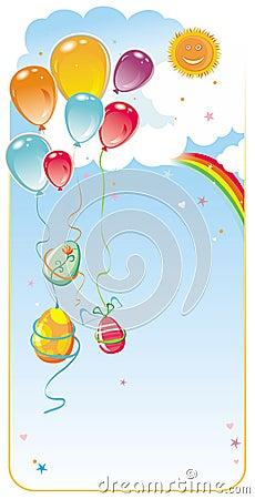 Balloons easter frame composit