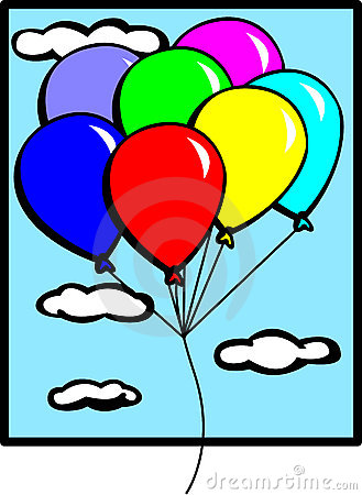 balloons flying in the sky vector illustration