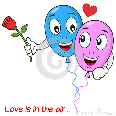 Balloons Lovers in Love Flying in the Air