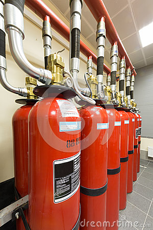 Free Balloons Of Powerful Industrial Fire Extinguishing System. Stock Image - 30983861