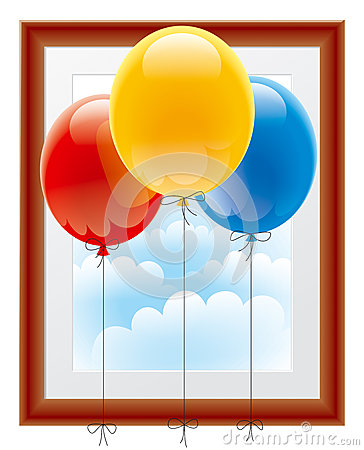 Balloons with a picture frame