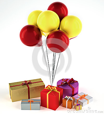 Balloons with presents