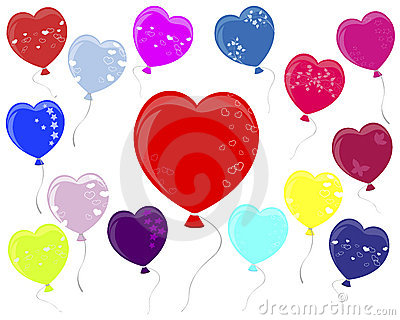 Balloons in the shape of heart.