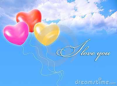Balloons in sky and LOVE word