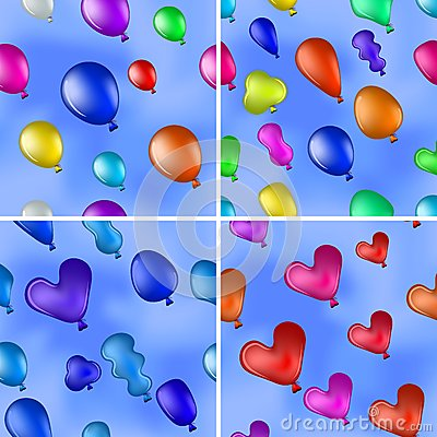 Balloons in sky, seamless, set