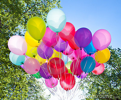 balloons sky and tree royalty free stock photography