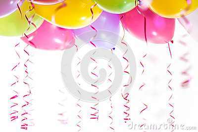 Balloons with streamers for birthday party celebration