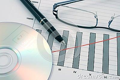 Ballpoint pen, cd and glasses on earning graphs