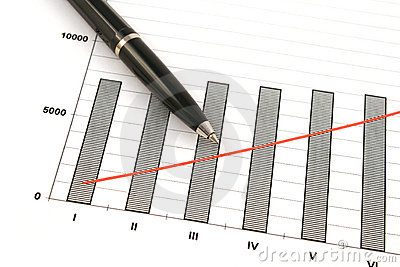 Ballpoint pen on earning graphs