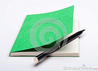 Ballpoint pen inside the book