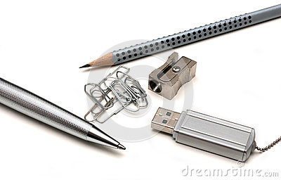 Ballpoint pen, pencil, paper clip, pencil sharpene