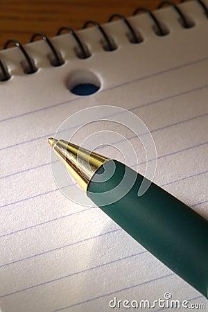 Ballpoint Pen on Spiral Bound Note Pad