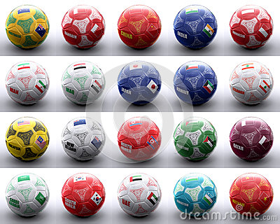Balls with asian and oceanian flags of nations