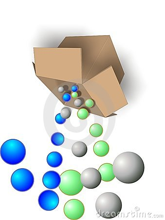 Free Balls Being Dumped From Box Royalty Free Stock Photography - 8425607