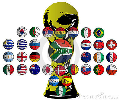 Balls flags, World Cup 2010 teams Editorial Photo