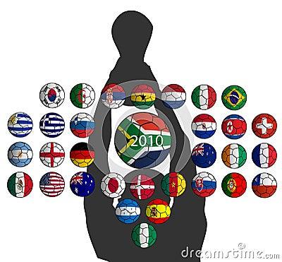 Balls flags, World Cup 2010 teams
