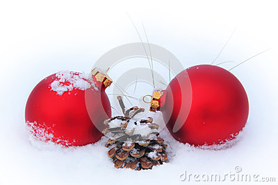 Balls, pine cone and dry grass in the snow
