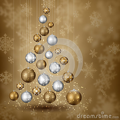 Free Balls Pinetree With Snowy Background Stock Image - 62152011