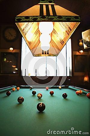 Balls on pool table.