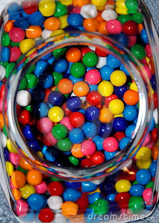 Balls of sugar and chewing gum