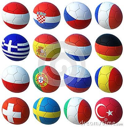 Free Balls With Euro 2008 Flags Stock Photo - 3911220