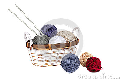 Balls Of Yarn In The Basket Stock Images - Image: 25858484