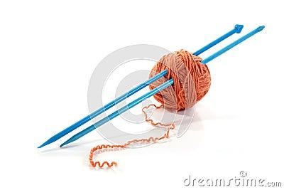 Balls of a yarn knitting spokes