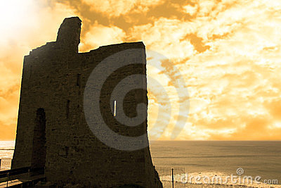 Ballybunion castle at sunset