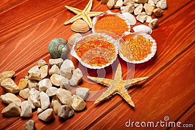 Balneario del mar - sal de baño y sea-shell