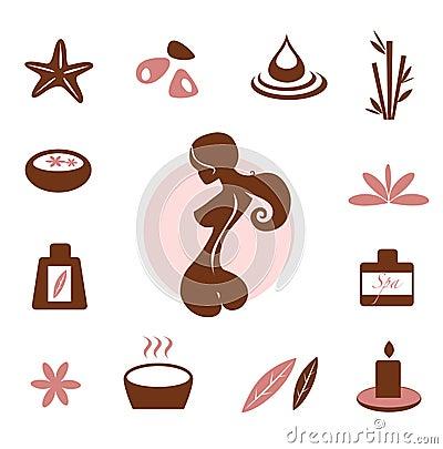 Balneario y colección del icono de la salud - marrón