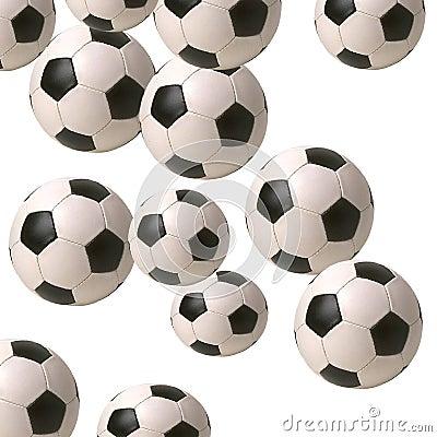 Balones de fútbol que caen