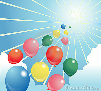 Baloon illustration shiny sky
