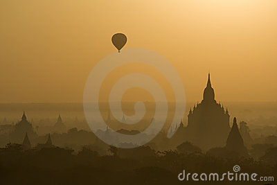 Baloon over Bagan temples in Myanmar (Burma)