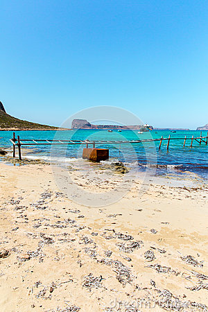 Balos bay, bridge and  Passenger Ship. Crete in Greece.Magical turquoise waters, lagoons, beaches of