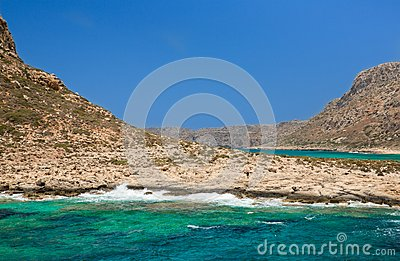 Balos bay.  Crete in Greece.Magical turquoise waters, lagoons, beaches of pure white sand.