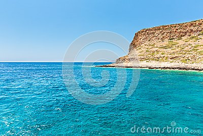 Balos bay. View from Gramvousa Island, Crete in Greece.Magical turquoise waters, lagoons, beaches of pure white sand.