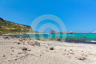 Balos beach, bridge and  Passenger Ship.Crete in Greece.Magical turquoise waters, lagoons, beaches of