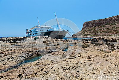 Balos beach and  Passenger Ship. Crete in Greece.Magical turquoise waters, lagoons, beaches of pure wh