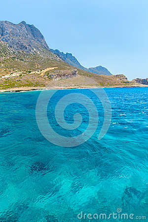 Balos beach. View from Gramvousa Island, Crete in Greece.Magical turquoise waters, lagoons, beaches