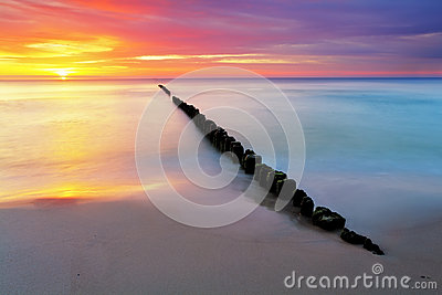 Beach in Poland - Baltic sea at sunrise