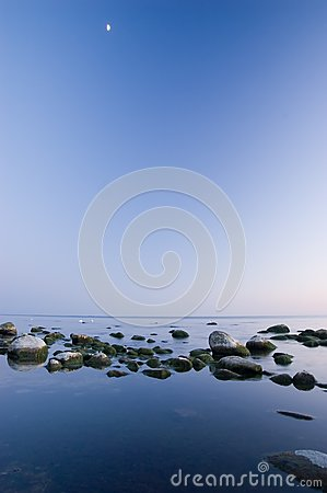 Baltic Seaside After Sunset With Moon Stock Images - Image: 9735584