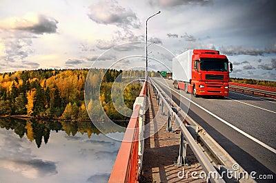 Baltic trucking, bridge, sunset