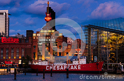Baltimore Aquarium, Powerplant , and Chesapeake Lightship during twilight, at the Inner Harbor in Baltimore, Maryland Editorial Photo